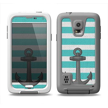 The Teal Stripes with Gray Nautical Anchor Samsung Galaxy S5 LifeProof Fre Case Skin Set