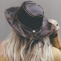 Ring Leader Brimmed Leather Hat