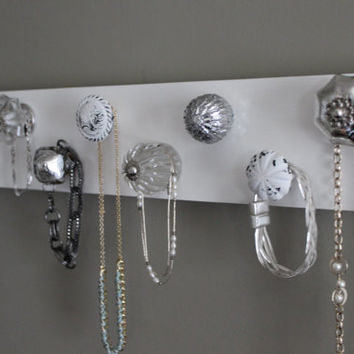 Jewelry organizer, 9 knob necklace holder, jewlery organizer, hanging jewlery wall decor, shabby chic, vintage, silver and crystal, organize