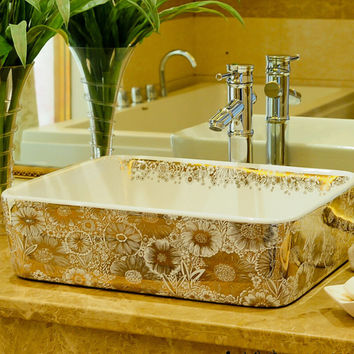 Rectangular Bathroom Lavabo Ceramic Counter Top Wash Basin Cloakroom Color Glazing Porcelain Vessel Sink Lulu002