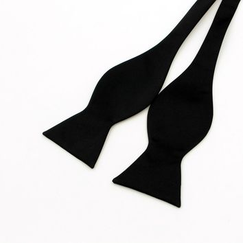 fdd93687f670 New Hot Fashion Mens Self Tie Bow Ties Black Red Solid Color Bowties For  Men Classic