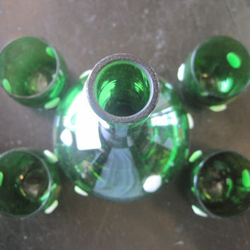Emerald Green Hand Blown Glass with Applied White Glass Dots Decanter Set