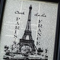 PARIS 8 X 10 PRINT ON VINTAGE DICTIONARY