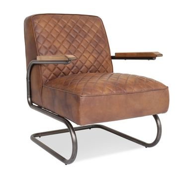 Hudson Industrial Distressed Leather Lounge Chair Sedona