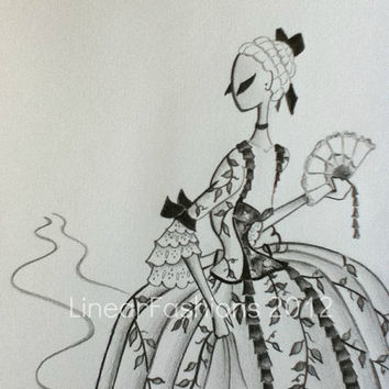 Fashion Illustration Art Baroque Mid Eighteenth by LinearFashions