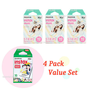 3 Plus 1 Value Set Fujifilm Instax Mini Film White Plus Stripe Polaroid Instant Photos 40 Shots