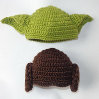 Star Wars Hat Set - Princess Leia And Yoda Crocheted Hat For Girl And Boy Newborn to Adult Photo Prop Halloween / Cosplay