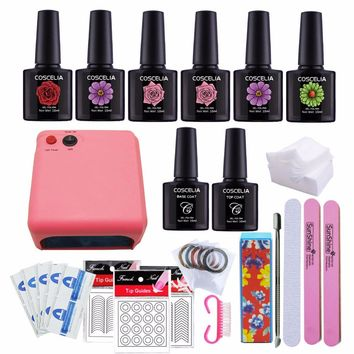 Manicure Set Nail Kit Nail Gel 6 Colors Lamp For Nails 36W Gel Polish Top Coat And Base Remover Files Stickers Gel Lacquer 10ML