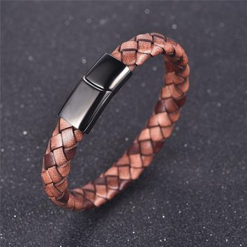 Jiayiqi Fashion Men's Genuine Leather Bracelets Woven Bracelet Stainless Steel Magnetic Buckle Bangle Jewelry Best Gift