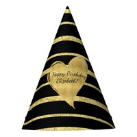 Glam Gold and Black Striped Heart Party Hat