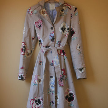 Anthropologie Floral Pansy Corset Trench By Elevenses