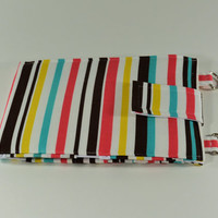 Women's Wallet Organizer with Card Slots - 2 in 1 - Striped Brown Pink Blue and Yellow