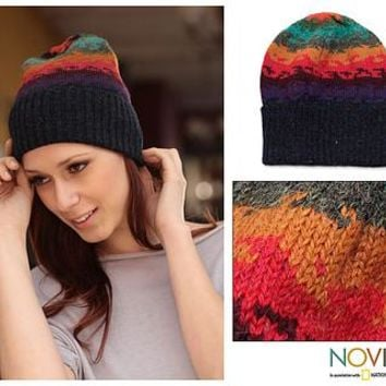 Handmade Alpaca Wool Striped Hat from Peru - Andean Twilight | NOVICA