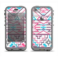 The Vector Pink & White Modern Aztec Pattern Apple iPhone 5c LifeProof Nuud Case Skin Set