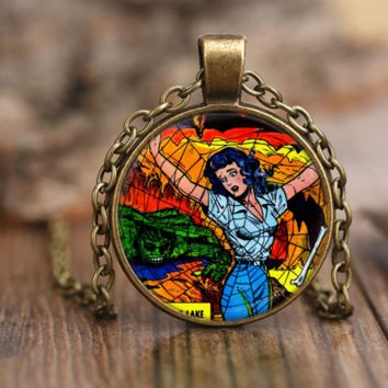 Spider Web Of Mystery Vintage Comics Pendant Necklace
