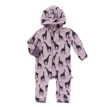 Kickee Pants Kenya Collection Print Quilted Hoodie with Coverall with Sherpa Lined Hoodie