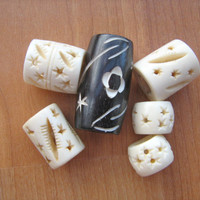 Whimsical Large hole bone beads variety of 6 in lot