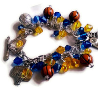 Basketball Bracelet - Custom Swarovski Charm Bracelet - Made to Order - NBA Team Colors