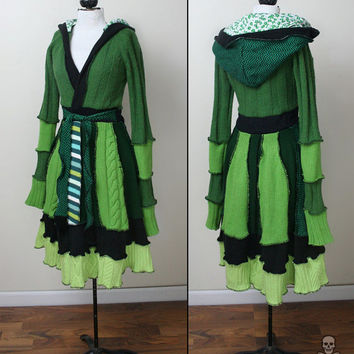 Absinthe patchwork sweater fairytale coat - The Green Fairy - smarmyclothes upcycled