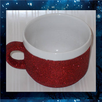 White Mug with Red Glitter - Glitter Coffee Mugs - 22oz stoneware mugs - tea mug - glitter cups - glitter mugs