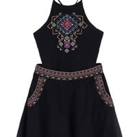 Black Patterned Cami Crop Top And High Waist Shorts