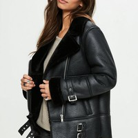 Missguided - Black Aviator Jacket