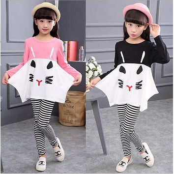 Girls Clothes 2017 New Long Sleeve Baby Girl Clothing Set Pattern Cat Girls Clothing Kids Clothes Children Clothing Set