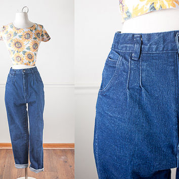1970s High Waisted Skinny Jeans / High Waist Stretch Denim Jeans / Dark Blue Denim Jeans / Vintage 70s Jeans / Ultra High Waisted Pants