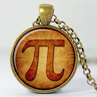 Pi Art Pendant, Math Necklace, Geekery Charm,  Bronze Finish (187B)