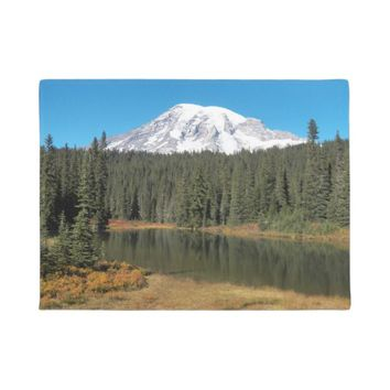 Mount Rainier Lake Photo Doormat