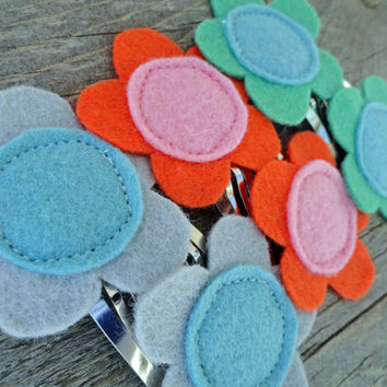 Summer Sunset Felt Flower Snap Clips Set of Six Two by OddEDesigns
