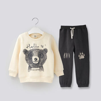 2017 New boy clothing cotton children Set autumn boys clothes Swan boy character set boys kids jacket tracksuit pants+t shirts