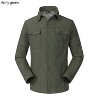 Outdoor Quick Dry Hunting Shirts Men Long Sleeve Stand Collar UV Protection Sport Tee Shirt for Tactical Fishing Shirts Clothes