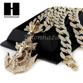 "Men Iced Out Large Anchor Cross Pendant 30"" Heavy Iced Out Cuban Link Chain N42"