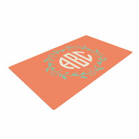 "Kess Original ""Classic Orange Wreath Monogram"" Green Illustration Woven Area Rug"