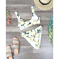 Dippin' Daisy's - Banded Sporty Top High Waist Cheeky Bottom Separates - Lemon Print