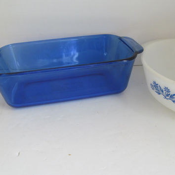 Pyrex Cobalt Blue Glass Bakeware Loaf Pan Casserole Dish  Blue and White Kitchen decor Bread Pan Meatloaf Pan Baking Dishes Pyrex Bakeware