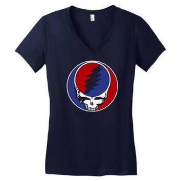 grateful dead 70s rock music group Women's V-Neck T-Shirt