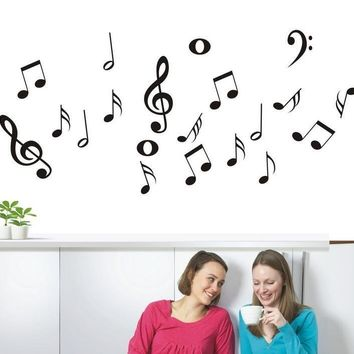 DIY Music symbols Removable Wall Sticker for Living Room Vinyl Bedroom Decoracion Poster Wallpapers Window Home Decor Mural