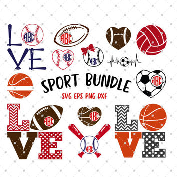 Sport Bundle SVG, Sport SVG, Sport Monogram Frames, SVG Cutting Files, svg cut files for Cricut, Silhouette Cameo files, svg