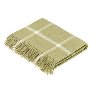 Merino Lambswool Sage Windowpane Throw Blanket