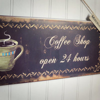 Coffee Sign / Coffee Decor / Kitchen Sign / Kitchen Decor / French Bistro Decor / French Decor / Gifts Under 25 / Brown Decor / Housewarming