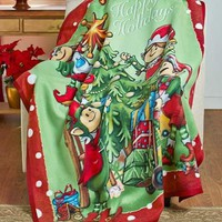 Holiday Elf Fleece Throw Blanket Elves Decorating Christmas Tree Sofa Bed Decor