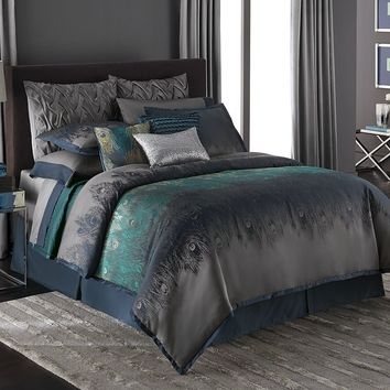 Jennifer Lopez bedding collection Exotic Plume 4-pc. Comforter Set - Cal. King (Blue)