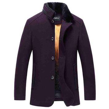 Men's Winter Mink Fur Lined Coat Wool Shell Jacket Men's Fur Coat Mink Fur Collar Black Purple Color Custom