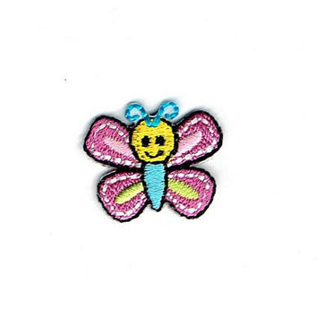 Small/Mini - Butterfly - Pink/Blue - Iron on Applique - Embroidered Patch - 1512352-A