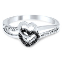Sterling Silver Black Diamond Double Heart Promise Ring - 1/20 cttw, Size 7