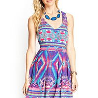 LOVE 21 Southwestern Print Crossback Dress Purple/Pink
