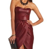 Strapless Faux Leather Tulip Dress by Charlotte Russe - Burgundy