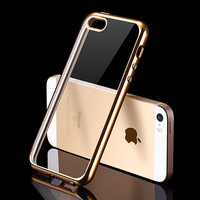 Luxury Silicone Case For iPhone 5 5S SE Transparent Cover 0.5 mm Ultra Slim Coque Fundas i Phone iPhone5 S Gold